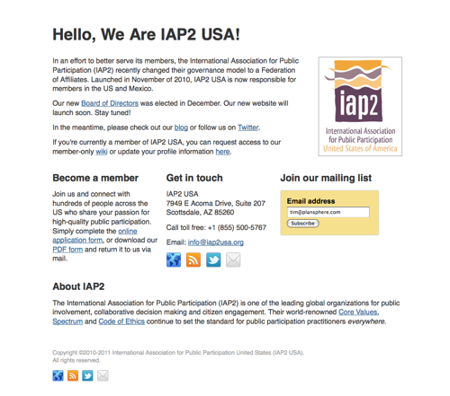 Screenshot of IAP2USA interim splash page